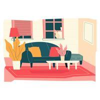Mysig Vardagsrum Vektor Illustration