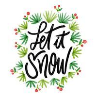 Nette Weihnachtsblätter mit Zitat vektor