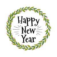 Netter Weihnachtskranz mit Text des neuen Jahres vektor