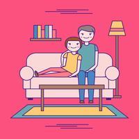Chill Par På Soffa Vector
