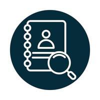Suchsymbol Adressbuch Kontaktlupenblock und Liniensymbol vektor