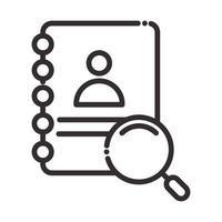 Suchsymbol Adressbuch Kontaktlupe dünne Linie Symbol vektor