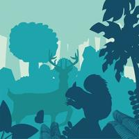 silhuett rådjur ekorre skog vektor