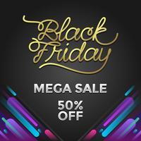 Svart fredag Mega Försäljning Social Media Post Vector