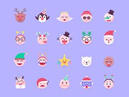 Weihnachts-Emoji-Vektorsatz