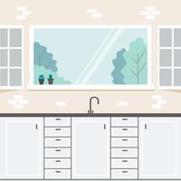 Küchenfensteransicht vektor
