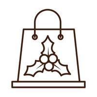 Frohe Frohe Weihnachten-Einkaufstasche mit Mistelbeeren-Feier festlicher linearer Ikonenstil vektor