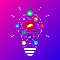 Kreative Glühlampe mit Zeichnungs-Geschäftsstrategie-Plan-Konzept-Ideen-Vektor-Illustration vektor