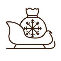 Frohe Weihnachten Schlitten mit Geschenktüte Feier festlichen linearen Symbolstil vektor