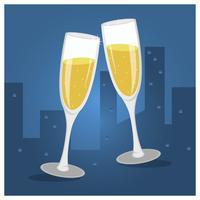 Platt Champagne Toast Glasögon Vektor Illustration