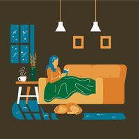 kvinna blir mysig i soffan läser en bok vektor