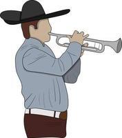 Cinco de Mayo flacher Charaktermann mit seiner Trompete perfekt für Designprojekt vektor