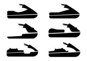 Jet-Ski-Symbole gesetzt. Sammlung von Sportwasseremblem vektor