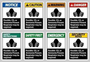 Wenn möglicherweise CO2 oder Ammoniak vorhanden ist, ist möglicherweise eine Atemschutzmaske erforderlich vektor