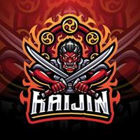 Raijin Esport-Maskottchen-Logo-Design vektor