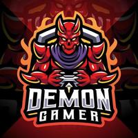 Dämonenspieler-Esport-Maskottchen-Logo-Design vektor