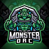 Monster-Ork-Esport-Maskottchen-Logo-Design vektor