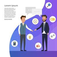 Flache Geschäfts-Marketing-Elemente mit Mann-Charakter-Vektor-Illustration