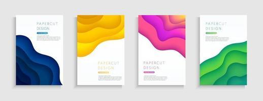 Satz abstrakter geschichteter wellenförmiger Formhintergrund mit Kopienraum. blaues, gelbes, rosafarbenes, grünes Papierschnitt-Kollektionsdesign. modernes Kurvenmuster trendige Farbe, Origami-Konzept. Vektor-Illustration vektor