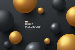 glänzende Kugel schwarz und goldfarben. abstrakte flüssige 3D-Flüssigkeit kreist Ball auf schwarzem Luxushintergrund. Kreative minimale Blasenvorlage für Cover-Broschüre, Flyer, Poster. Vektor-Illustration vektor