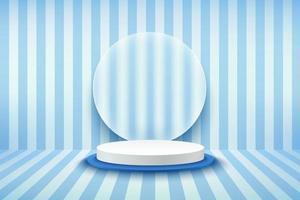 modernes blaues und weißes Zylinderpodest mit transparentem Glas und blauem Hintergrund mit vertikalen Streifen. vektor