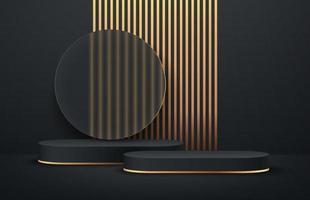 Luxuriöses rundes Podest in Schwarz und Gold mit transparentem Glas und vertikalem goldenem Streifenhintergrund. vektor