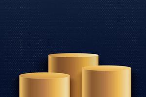 abstrakte runde Bühne für Auszeichnungen in der Moderne. Luxus-Hintergrund-Vektor-Rendering mit goldenem Podium und dunkelblau mit goldener Glitzer-Wandszene, 3D-Rendering geometrischer Form blaue Farbe. Vektor-eps10 vektor