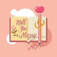 Hand-Zeichnungs-Beschriftung heirate mich auf Tagebuch