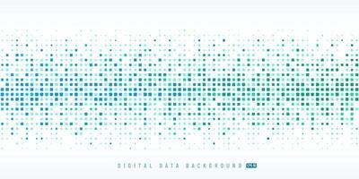 abstrakte digitale Datentechnologie quadratischer hellblauer und grüner Musterpixelhintergrund mit Kopienraum. modernes futuristisches horizontales Pixeldesign. Vektor-Illustration vektor