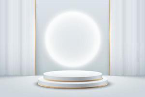 abstrakte runde Anzeige für das Produkt auf der Website in der Moderne. futuristische Hintergrundwiedergabe mit Podium und minimaler weißer und goldener Textur-Wandszene, 3D-Rendering geometrischer Form silberfarben. Vektor-eps vektor