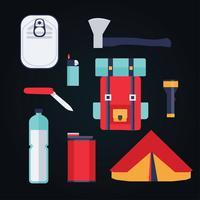 camping tillbehör knolling element vektor pack