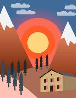 Solnedgång i berget vektor