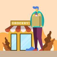 Platt man shopping på livsmedelsbutik vektor illustration