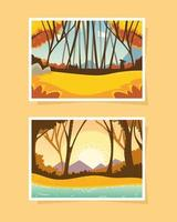 Waldlandschaften Sonnenuntergang vektor