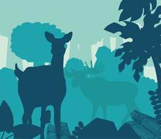 Silhouette Hirsch im Wald vektor
