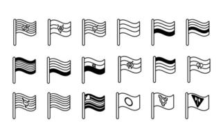 Bündel von Geschlechterflaggen der Linienstilsymbole der sexuellen Orientierung vektor