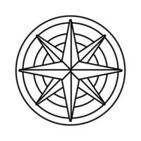 Retro-Kompass-Führungssymbol mit grauer Linie vektor