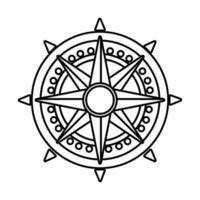 Retro-Kompass-Führungslinien-Stil-Symbol vektor