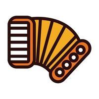 Akkordeon Musikinstrument Linie und füllen Stilikone vektor