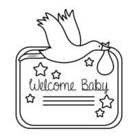 Babypartyrahmenkarte mit Storch und Willkommensbaby-Schriftzuglinienstil vektor