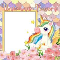 leeres Banner mit niedlicher Pegasus-Cartoon-Figur auf pastellfarbenen Meerjungfrau-Skalen vektor