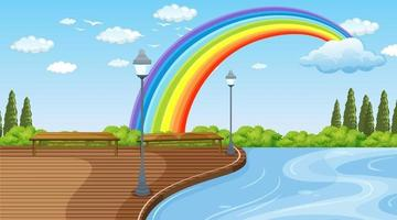 Parklandschaftsszene mit Regenbogen am Himmel vektor