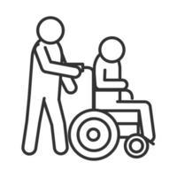 Person trägt einen Behinderten in einem linearen Ikonendesign des Rollstuhlwelttag der Behinderung vektor