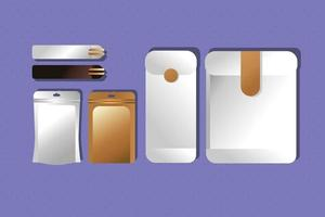 Mockup-Papierumschläge und Essstäbchen-Verpackung mit Farbverlauf vektor
