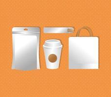 Mockup-Papiertüten mit Tasse und Essstäbchen im Farbverlaufsstil vektor