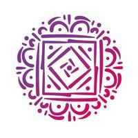 rosa quadratisches Mandala Blumensilhouette-Stil-Symbol vektor
