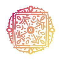 rosa und orange quadratische Mandala-Blumensilhouette-Stilikone vektor