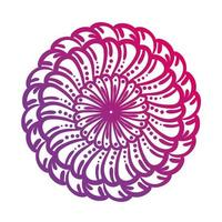 rosa kreisförmige Mandala-Blumenschattenbild-Stilikone vektor