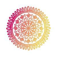 rosa und orange kreisförmige Mandala-Blumenschattenbild-Stilikone vektor