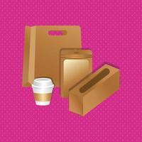 Papierserviettenhalter und -taschen mit Cup-Farbverlauf vektor